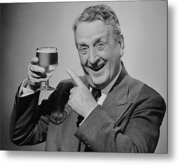 Mature Man W/glass Of Beer Metal Print by George Marks