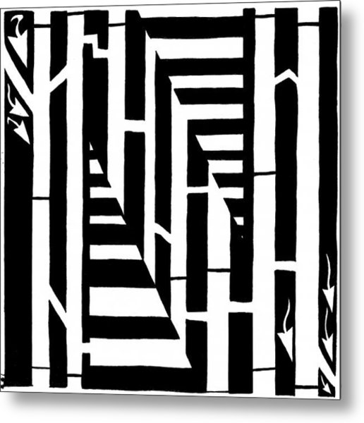 Maze Of The Letter N Metal Print
