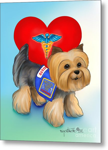 Medical Alert Yorkie Metal Print