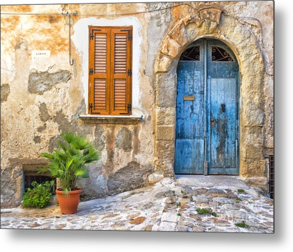 Mediterranean Door Window And Vase Metal Print