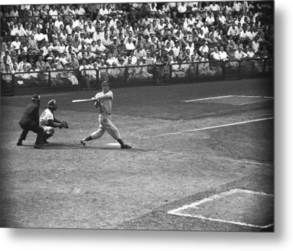 Men Playing Baseball, (b&w), Elevated View Metal Print by George Marks