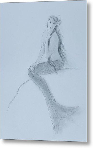 Mermaid Christina Touching Her Hair Metal Print by Tina Obrien