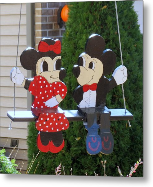 Mickey And Minnie Mouse Metal Print