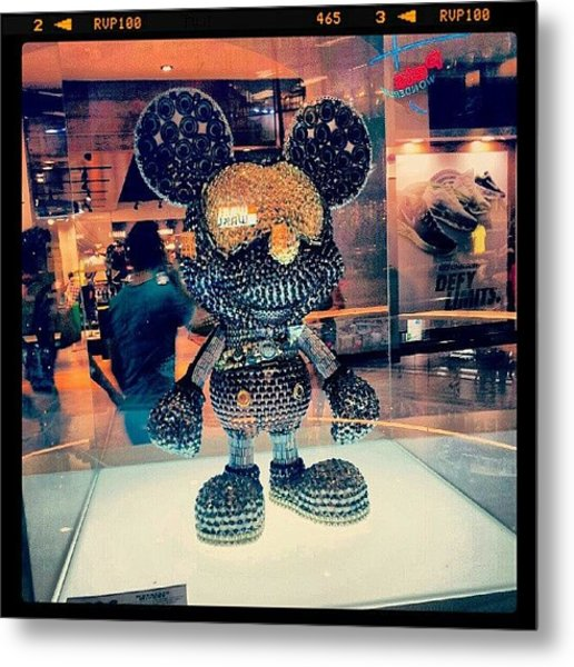 #mickey #mouse #black #gold #decoration Metal Print