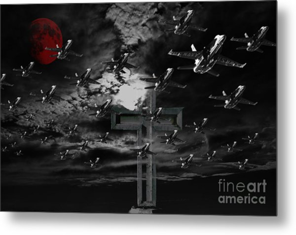 Midnight Raid Under The Red Moonlight Metal Print by Wingsdomain Art and Photography
