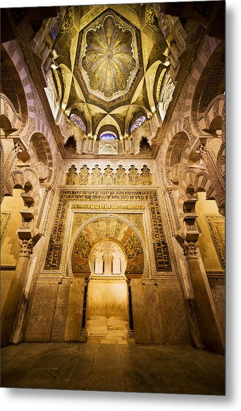 Mihrab And Ceiling Of Mezquita In Cordoba Metal Print