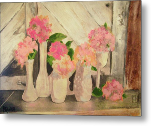 Milk Glass Vases With Flowers Metal Print by Kemberly Duckett