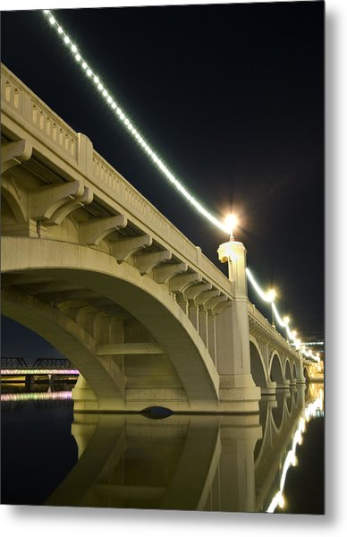 Mill Avenue Bridge At Night Metal Print