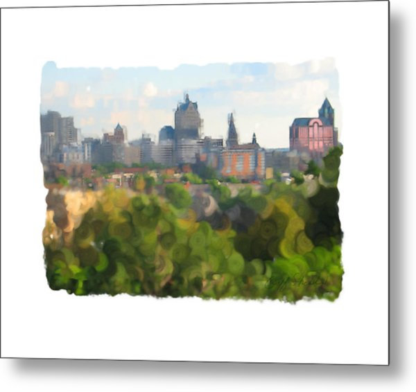 Milwaukee From Resevoir Park Metal Print by Geoff Strehlow