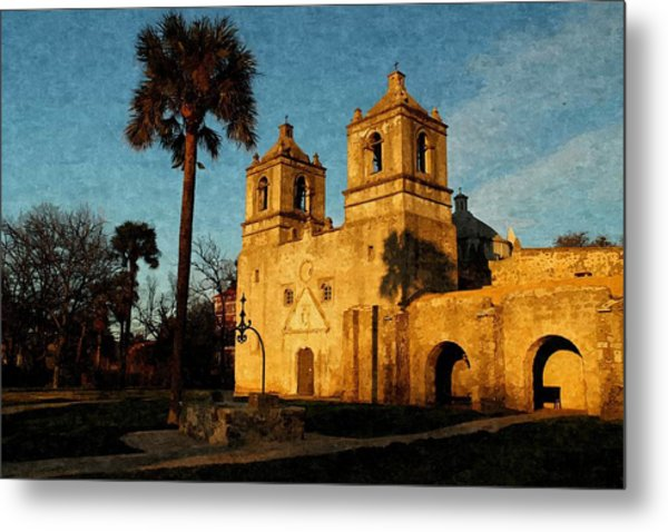 Mission Concepcion In Oil Metal Print