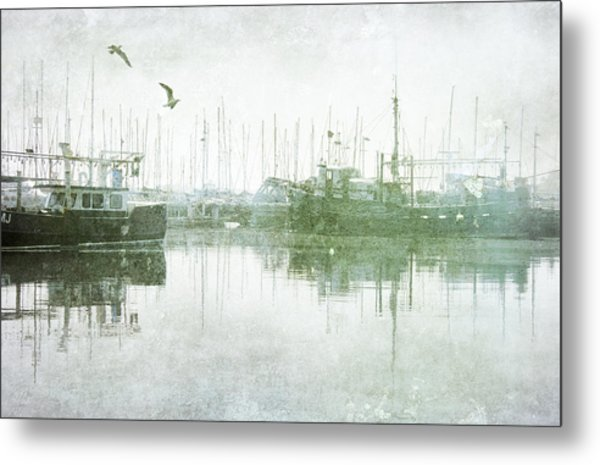 Misty Morning On The Boat Harbour Metal Print