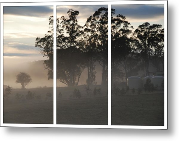 Misty Morning Triptych Metal Print