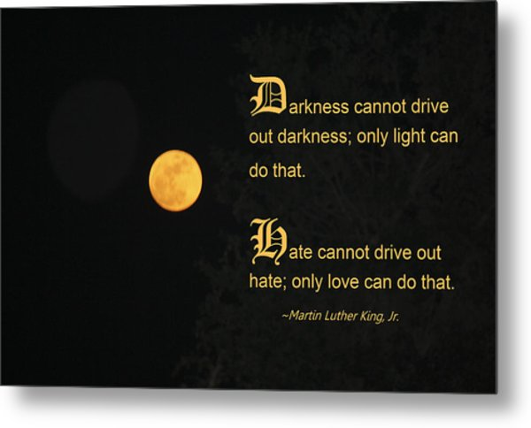 Mlk And A Yellow Moon Metal Print by Andrea  OConnell
