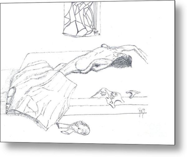 Mmm...stretch... Sketch Metal Print by Robert Meszaros