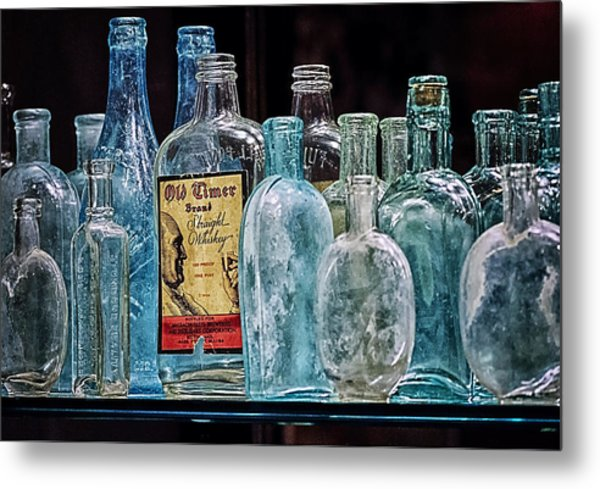 Mob Museum Whiskey Bottles Metal Print by Sandra Welpman