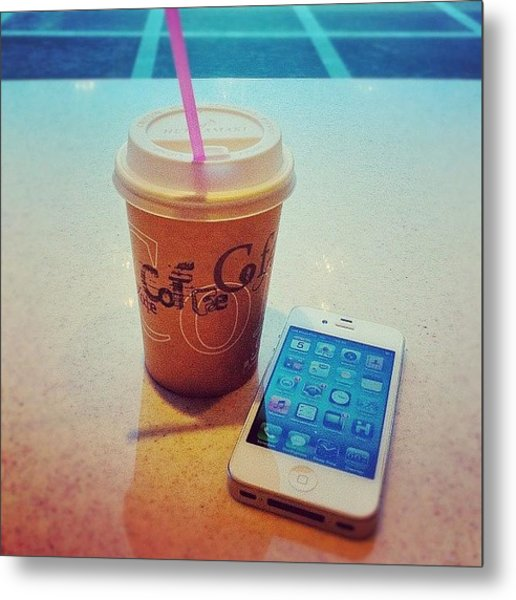 Mocca And White Iphone Metal Print