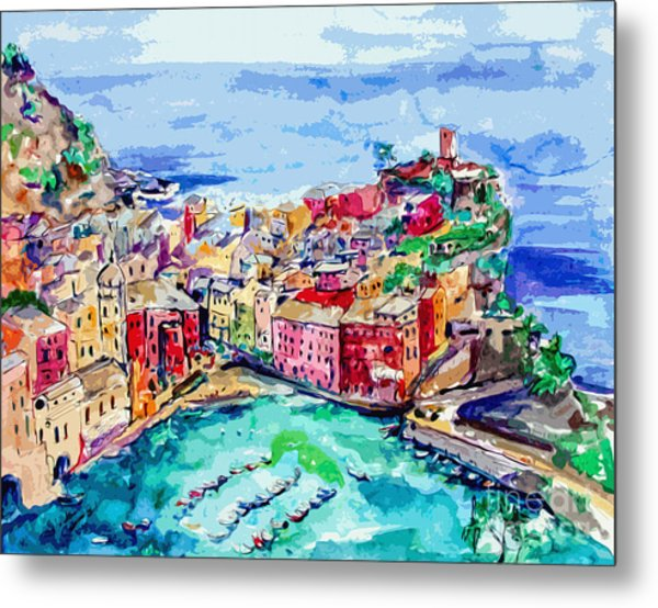 Modern Abstract Vernazza Italy Cinque Terre Metal Print
