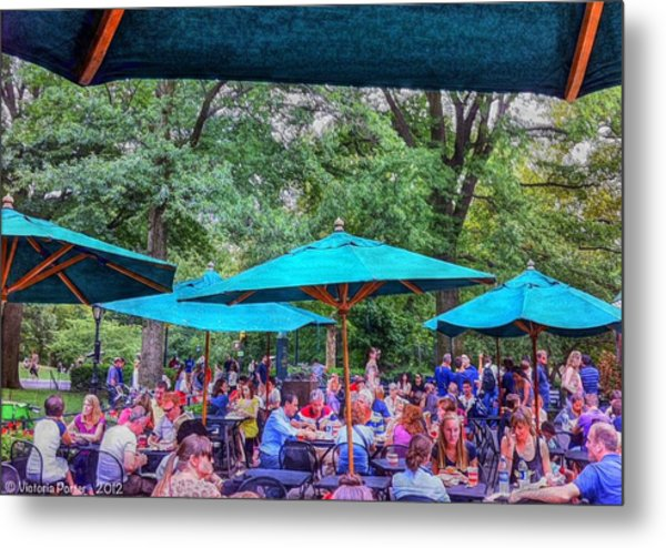 Modern Boating Party Crowd At Central Park In New York City Metal Print