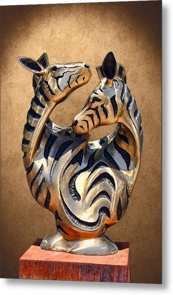 Modern Zebra Sculpture Metal Print by Linda Phelps