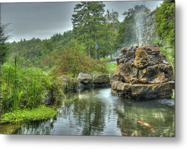 Mohonk Koi Pond On A Rainy Day Metal Print by Donna Lee Blais