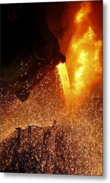 Molten Metal Being Poured From A Vat Metal Print by Ria Novosti