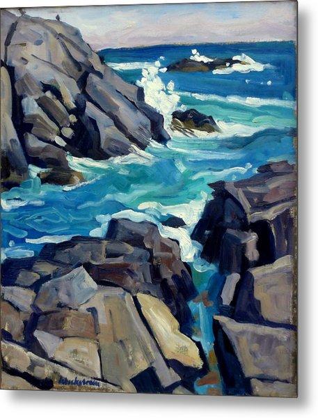 Monhegan Surf Maine Seascape Metal Print