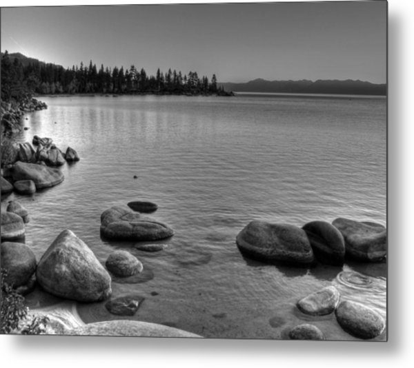 Monochrome Lake Tahoe Sunset Metal Print