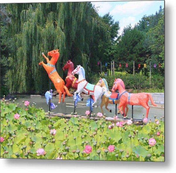 Montreal Botanical Gardens - Chinese Horses Metal Print