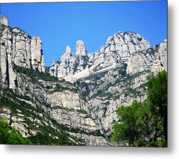 Montserrat Monastery Panoramic Mountain View Blue Sky Near