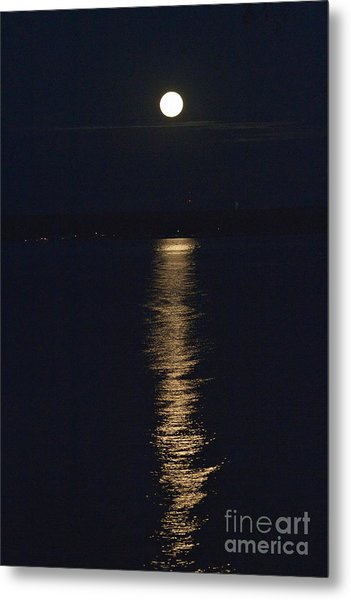 Moon Over Seneca Lake Metal Print