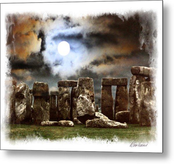 Moon Over Stonehenge Metal Print