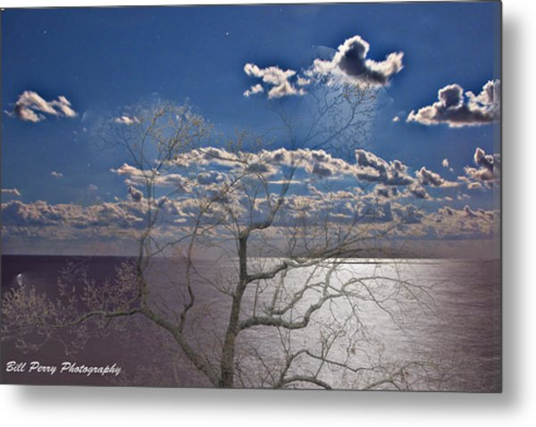 Moon Over The Water Metal Print by Bill Perry