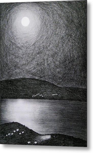 Moon Reflection On The Sea Metal Print