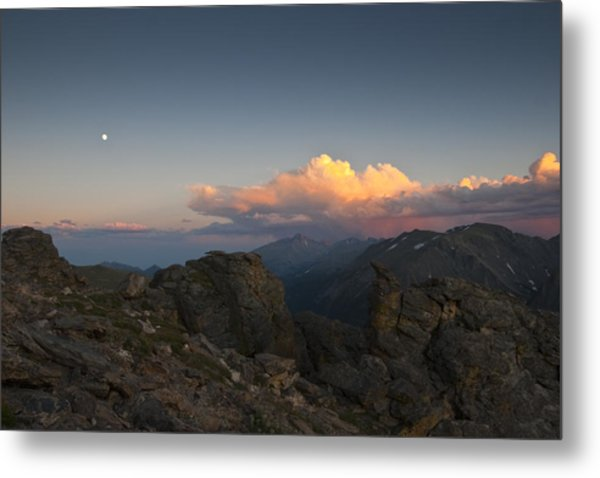 Moon Storm Sunset And Longs Peak Metal Print