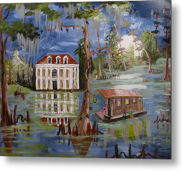 Moonlight And Houseboat Metal Print by Mary Crochet