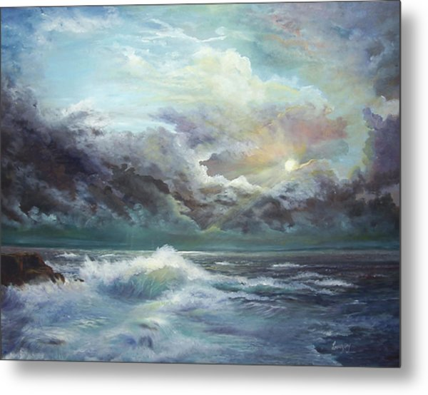 Metal Print featuring the painting Moonlight At The Ocean by Katalin Luczay