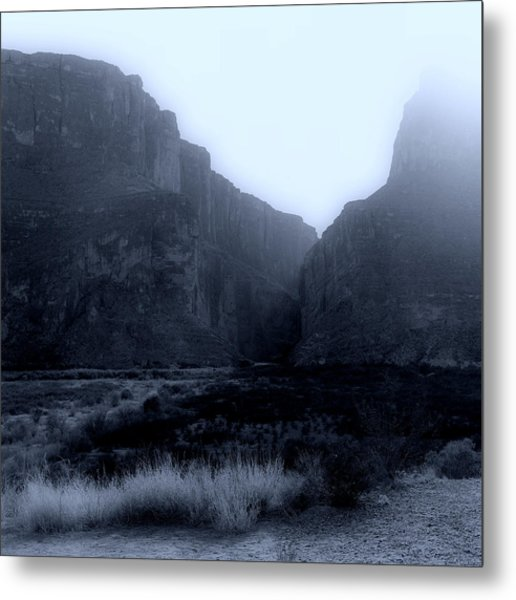 Moonlight Big Bend Park And Rio Grand River Metal Print