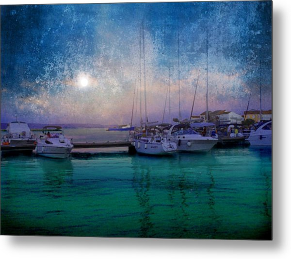 Moonrise At The Bay In Kukljica Croatia Metal Print