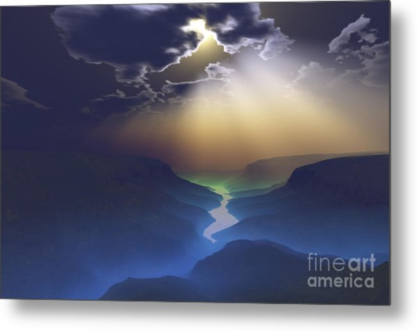 Morning Mist Surrounds The Mountains Metal Print