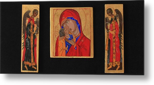 Mother And Child With Archangels Metal Print by Amy Reisland-Speer