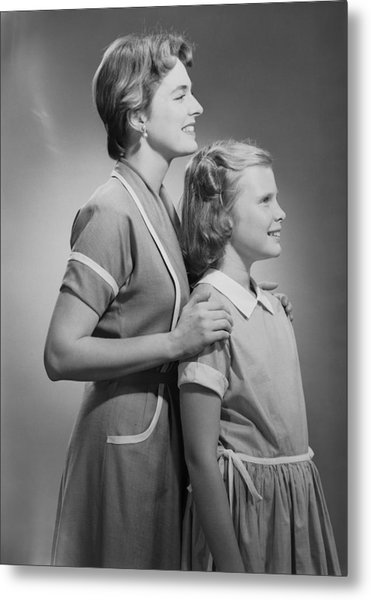 Mother And Daughter (12-13), Profile Metal Print by George Marks