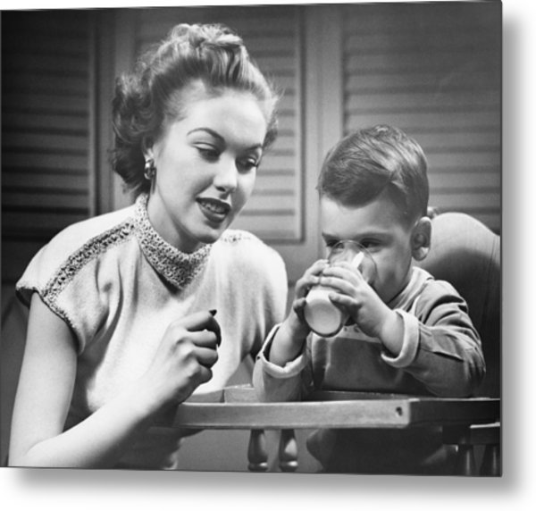 Mother Assisting Son (2-3) Drinking Milk, (b&w) Metal Print by George Marks