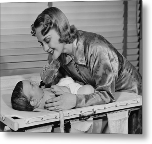 Mother Feeding Baby (3-6 Months) With Baby Bottle, (b&w) Metal Print by George Marks