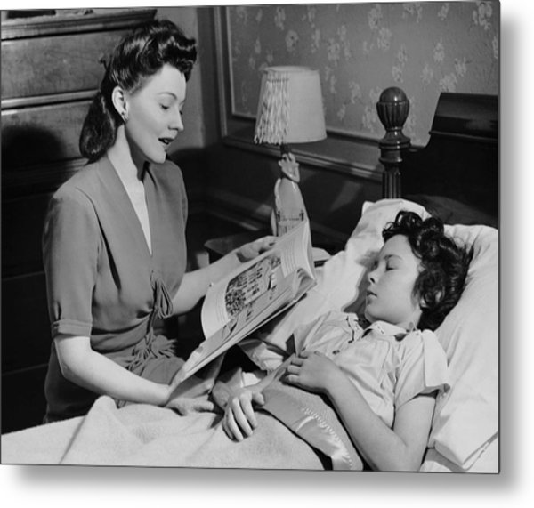Mother Reads Child A Bedtime Story Metal Print by George Marks