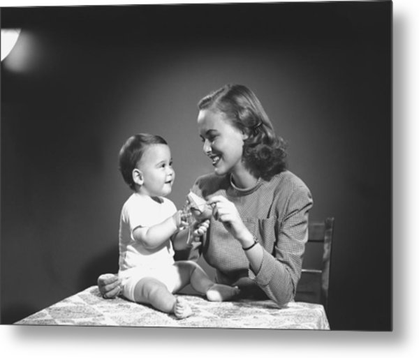 Mother With Baby (6-9 Months) Playing At Home, (b&w) Metal Print by George Marks