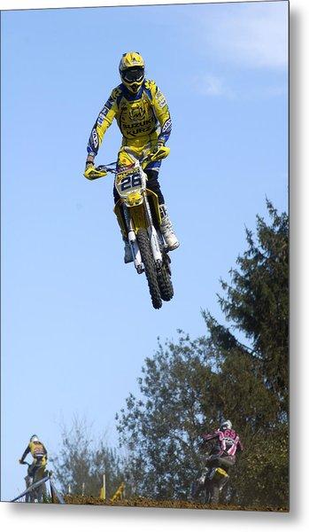 Motocross Rider Jumping High Metal Print