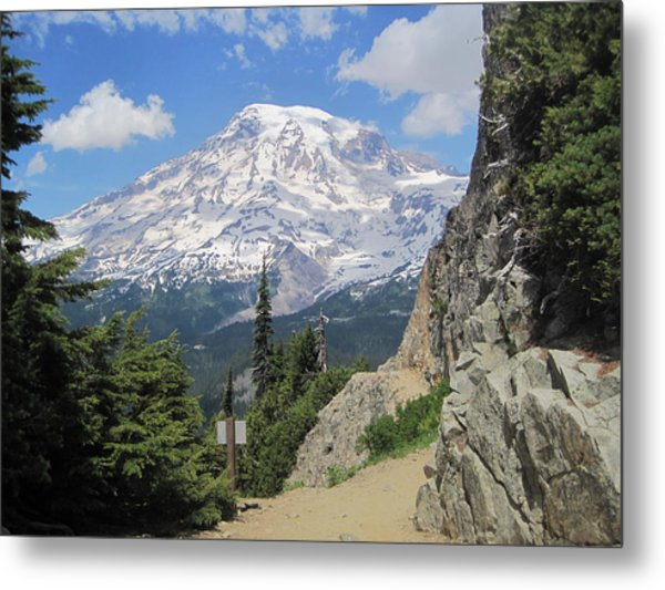 Mount Rainier From The Pinnacle Peak Trail Metal Print