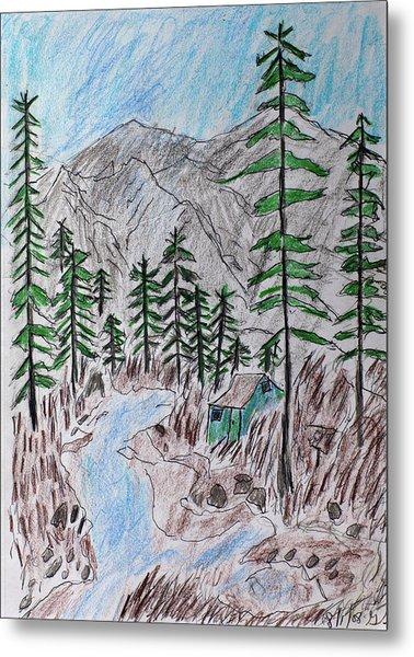 Mountain Cabin Near A Stream Metal Print