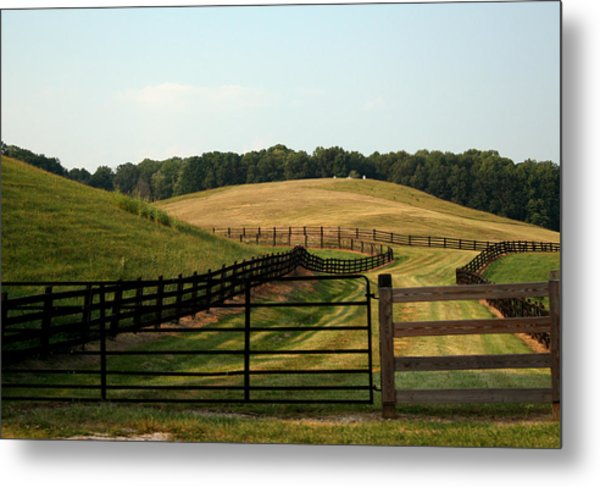 Mountain Farmland Metal Print