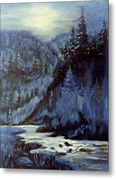 Mountain Stream In Moonlight Metal Print